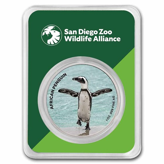 San Diego Zoo 1 oz Colorized Silver Penguin in TEP
