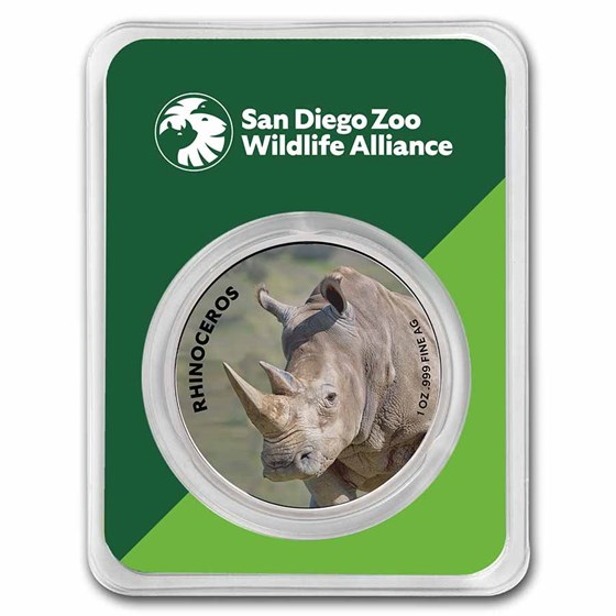 San Diego Zoo 1 oz Colorized Silver Rhinoceros in TEP