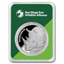 San Diego Zoo 1 oz Silver Round Rhinoceros in TEP