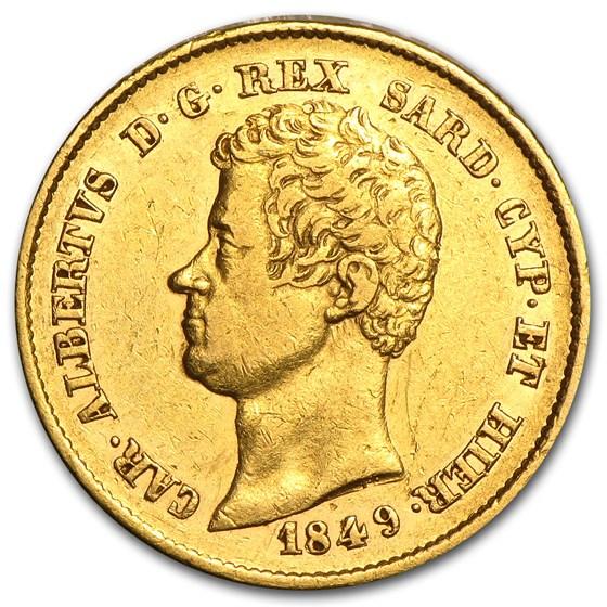 Sardinia Gold 20 Lire XF or Better (AGW .1867, Random)