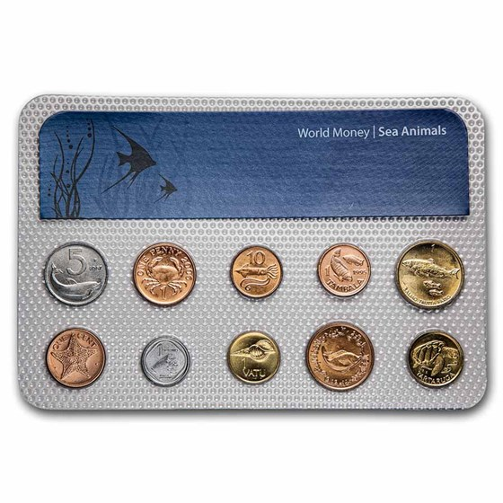 Sea Animal Coins from Around the World 10-Coin Set BU