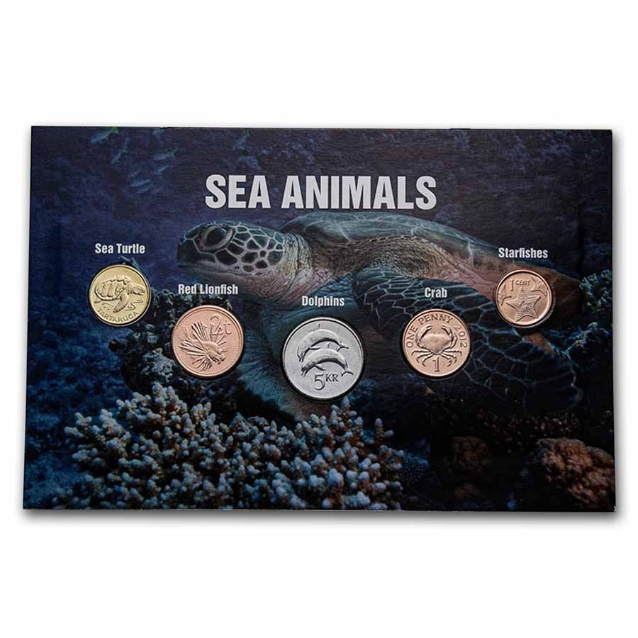 Sea Animal Coins from Around the World 5-Coin Set BU