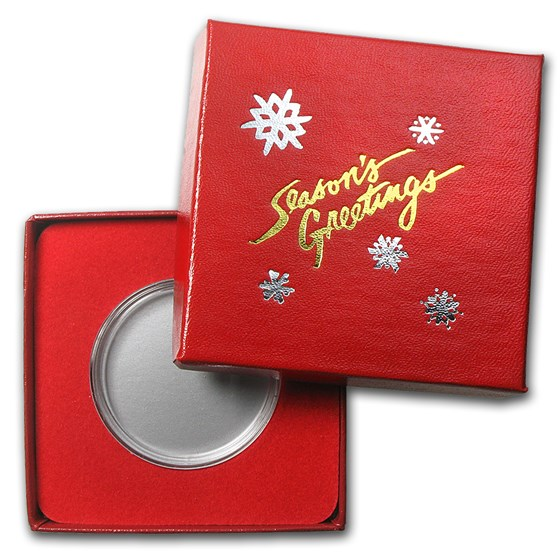 Season's Greetings Red Gift Box for Silver Round (39mm)