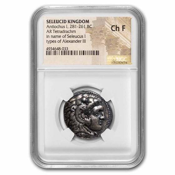 Seleucid Empire AR Tetradrachm Antiochus I 281-261 BC Ch Fine NGC