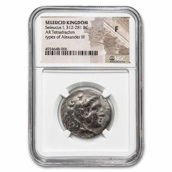 Seleucid Empire AR Tetradrachm Seleucus I 312-281 BC Fine NGC