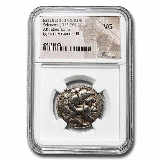 Seleucid Empire AR Tetradrachm Seleucus I 312-281 BC VG NGC