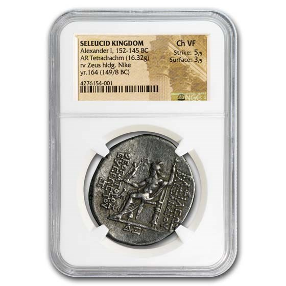 Seleucid Kingdom Alexander I Tetradrachm (149/8 BC) Ch VF NGC