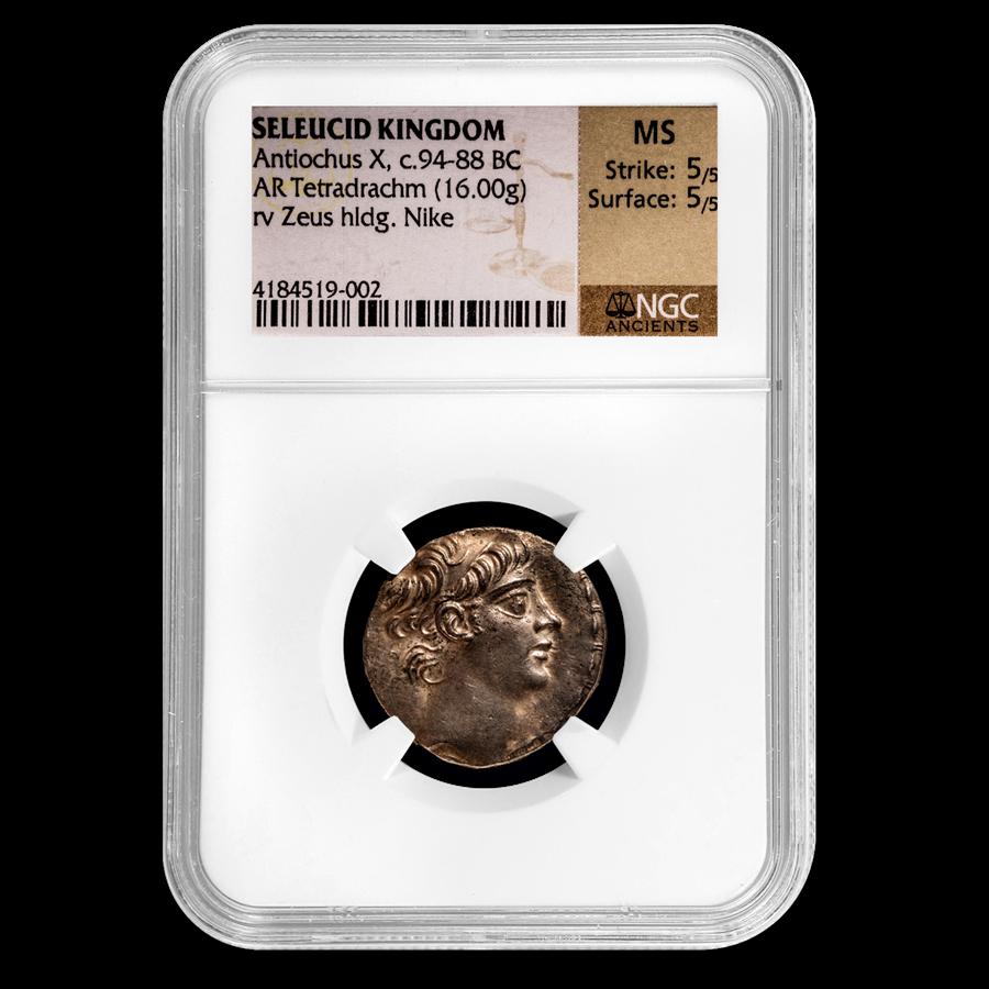 Seleucid Kingdom Antiochus X AR Tetradrachm (94-88 BC) MS NGC