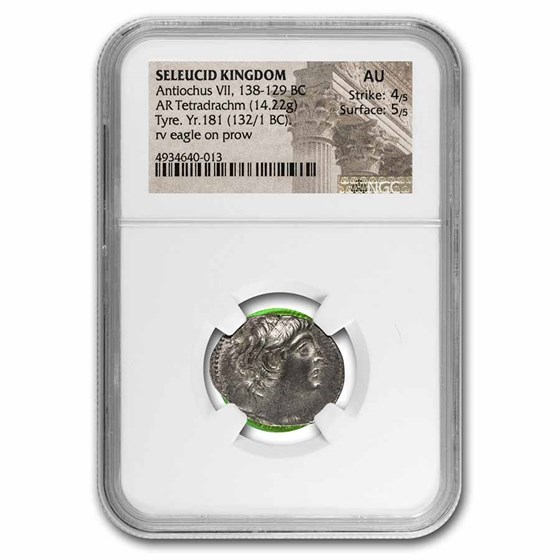 Seleucid Silver Tetradrachm Antiochus VII (138-129 BC) AU NGC