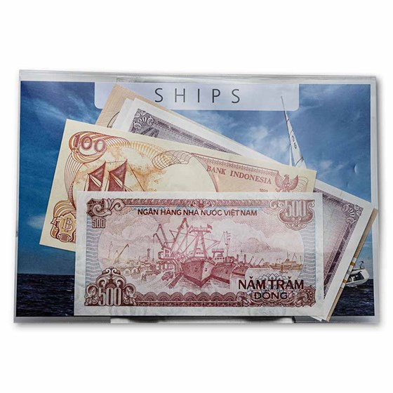 Ship Banknotes from Around the World 5-Banknote Set Unc