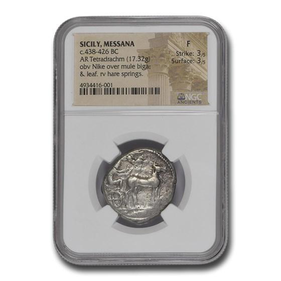 Sicily Messana Silver Tetradrachm (438-426 BC) Fine NGC
