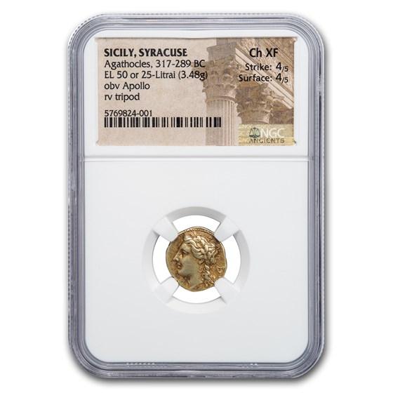 Sicily Syracuse EL Hemistater Agathocles (317-289 BC) Ch XF NGC