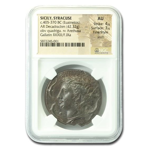 Sicily, Syracuse Silver Decadrachm (405-370 BC) AU NGC