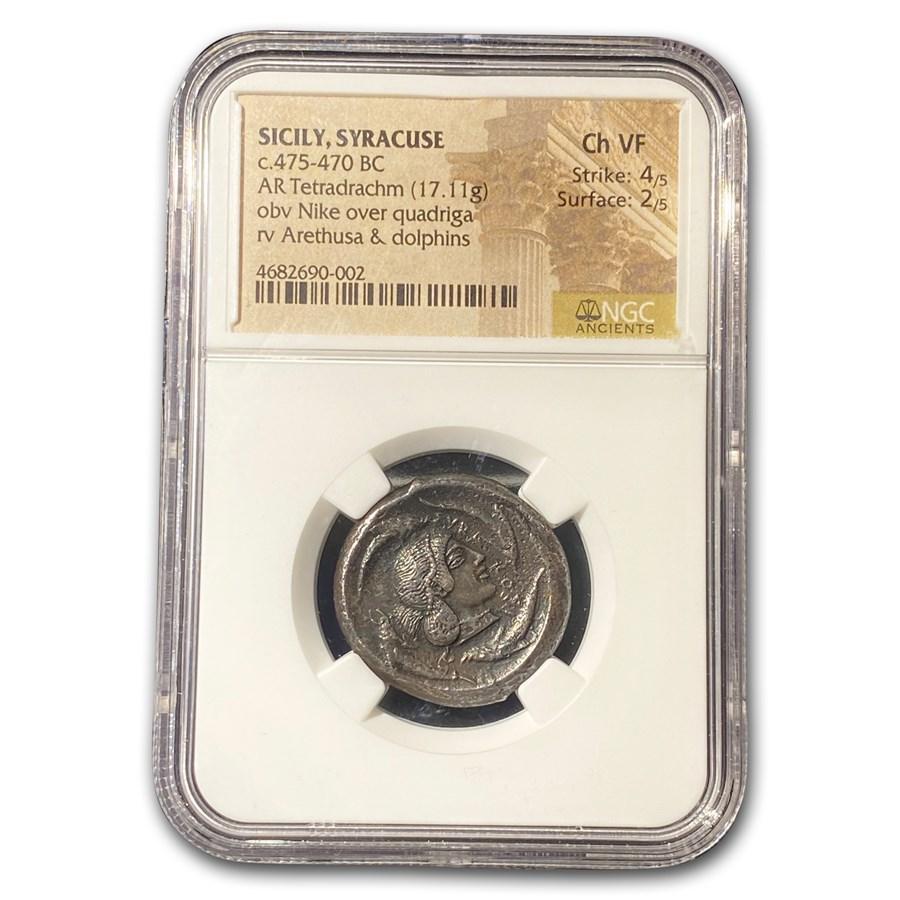Sicily, Syracuse Silver Tetradrachm (475-470 BC) Ch VF NGC