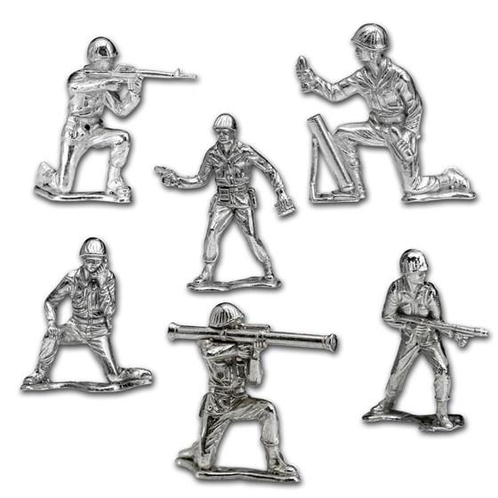Silver Army Figurine - 6 Piece Silver Soldier Set