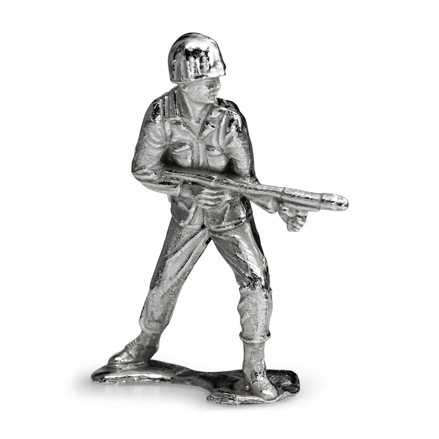 Silver Army Figurine - Flamethrower Silver Soldier