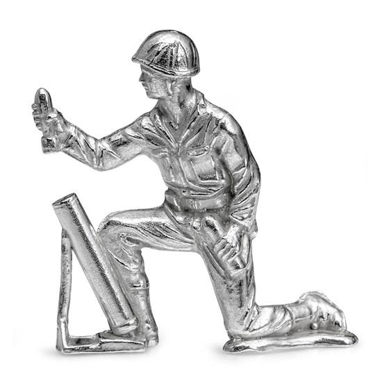 Silver Army Figurine - Gunner Silver Soldier