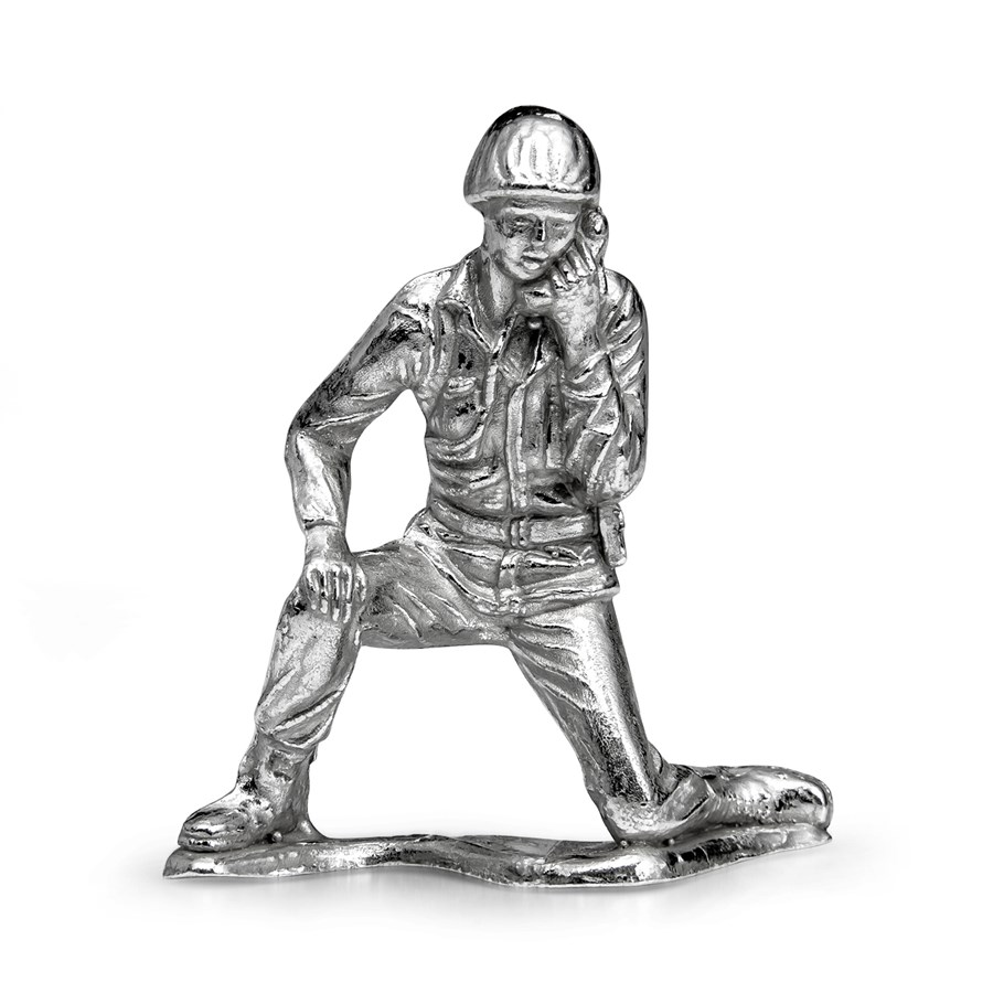 Silver Army Figurine - Radioman Soldier