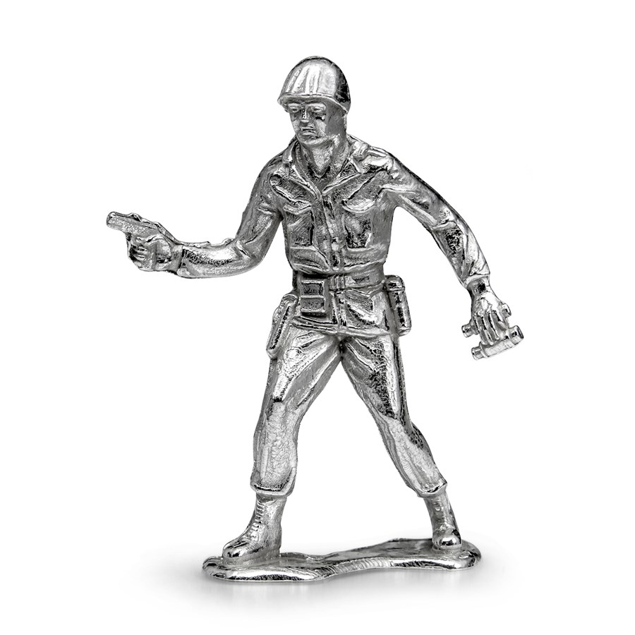 """Silver Army Figurine - Sergeant """"Sarge"""" Silver Soldier"""