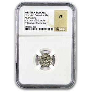 Silver Drachm Western Satraps India VF NGC (3rd Century AD)