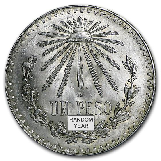 Silver Mexican 1 Peso Cap & Rays (1920-1945) Avg Circ