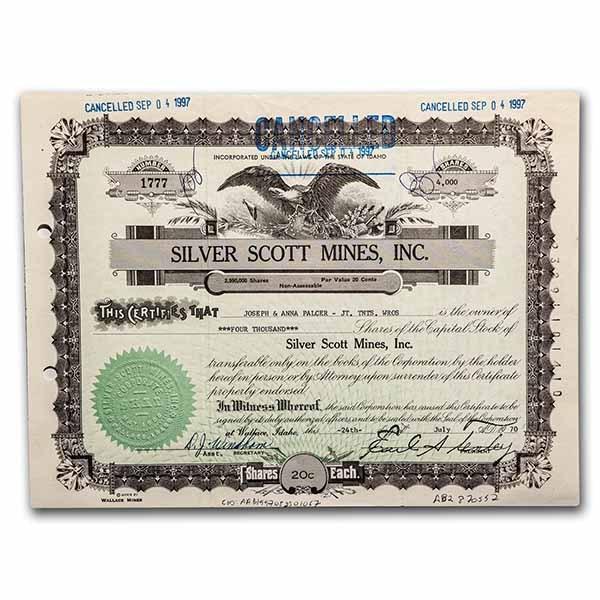 Silver Scott Mines, Inc. Stock Certificate