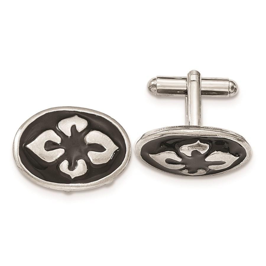 Silver-tone Polished Black Enameled Oval Cuff Links