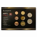 Slovakia 1 Cent-2 Euro 8-Coin Euro Set BU