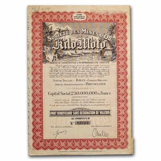 Societe Des Mines D'or Kilo-Moto Bond Certificate (Red)