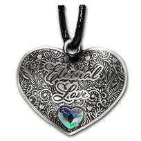 Solomon Islands Silver Eternal Love Heart-Shaped Coin Pendant