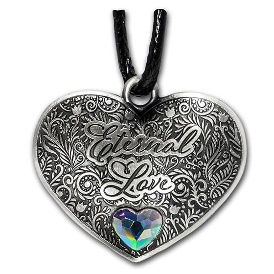 Solomon Islands Silver Eternal Love Heart-Shaped Coin Pendant