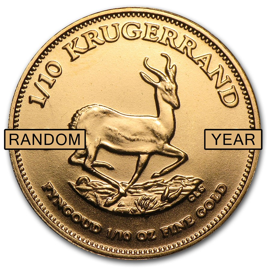 South Africa 1/10 oz Gold Krugerrand (Random Year)
