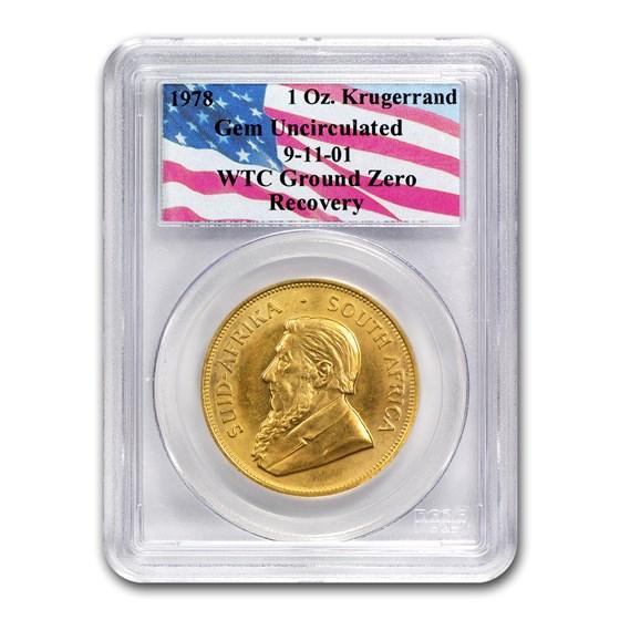 South Africa 1 oz Gold Krugerrand Unc PCGS (WTC, Random Date)
