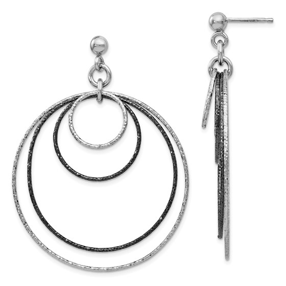 SS and Ruthenium Plated D/C Post Hoop Earrings - 57 mm