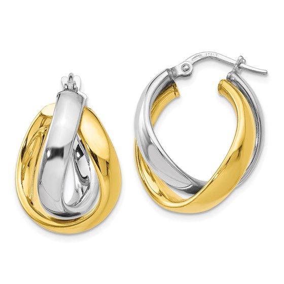 SS Gold-tone Rhodium-plated Earrings - 23 mm