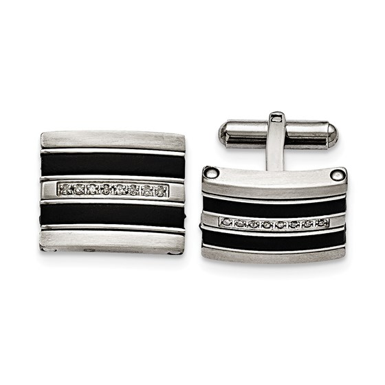 Stainless Steel Black Rubber 0.15ct.tw. Diamond Cuff Link