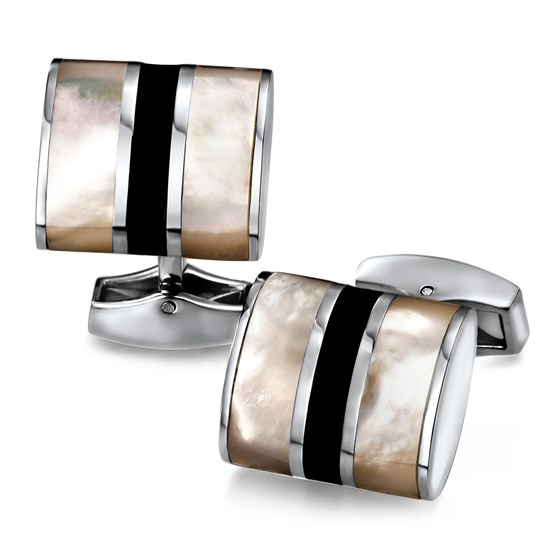 Stainless Steel Black Stone & Mother of Pearl Cuff Links