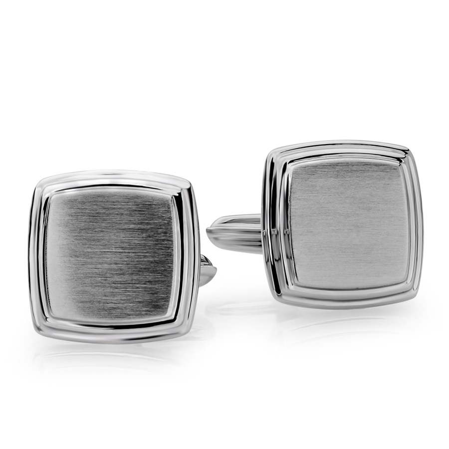 Stainless Steel Brushed & Polished Square Cuff Links
