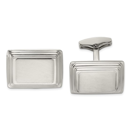 Stainless Steel Classic Brushed and Polished Cuff Links