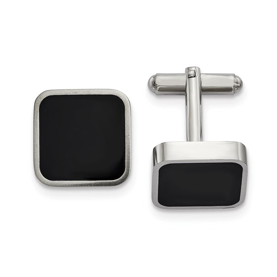 Stainless Steel Polished Black Enameled Square Cuff Links