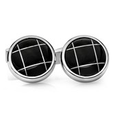 Stainless Steel Polished Black Stone Round Cuff Links