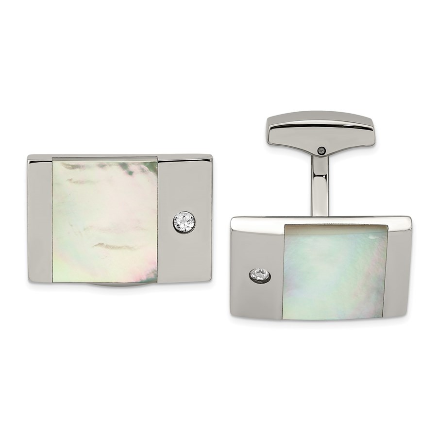 Stainless Steel Polished Mother of Pearl CZ Cuff Links