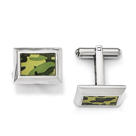 Stainless Steel Polished Printed Green Camo Cuff Links