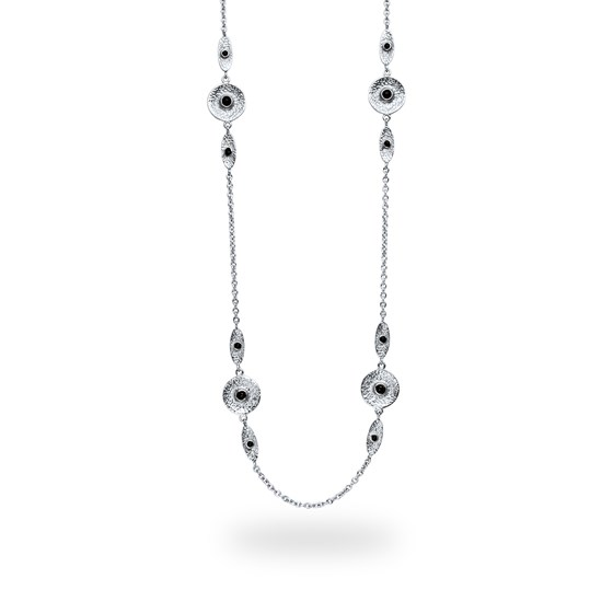 Stainless Steel Polished & Textured Black Onyx Necklace