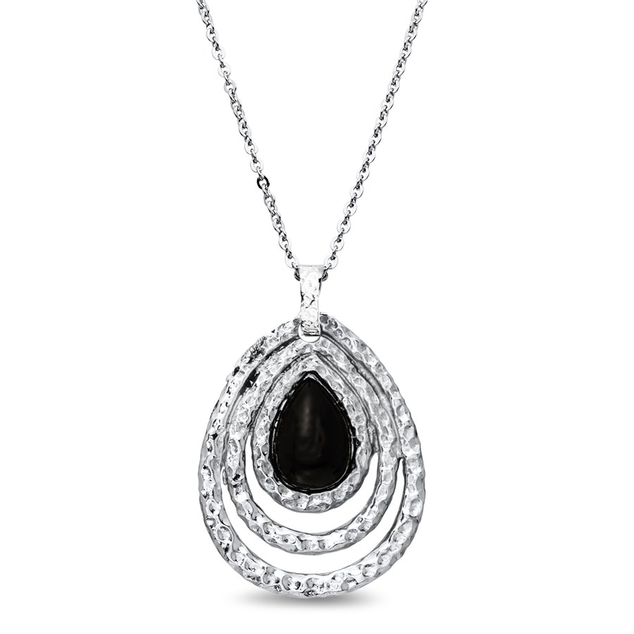 Stainless Steel Polished & Textured Teardrop Onyx Necklace