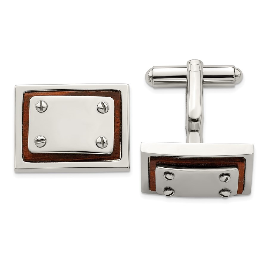 Stainless Steel Polished Wood Inlay Cuff Links