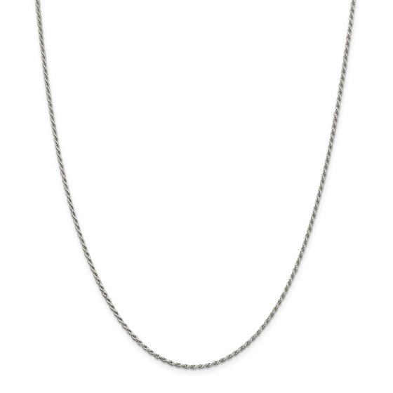 Sterling Silver 1.7 mm Diamond Cut Rope Chain - 24 in.