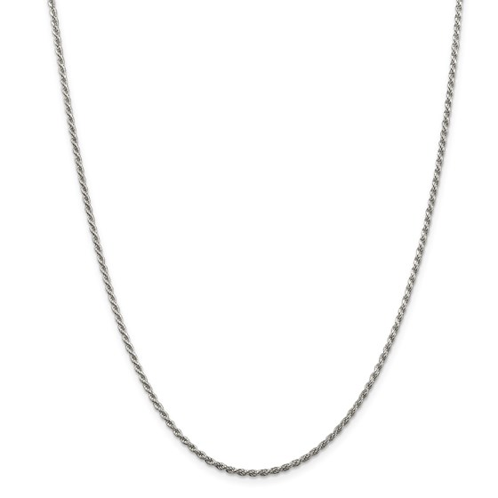 Sterling Silver 1.75 mm Diamond Cut Rope Chain - 24 in.