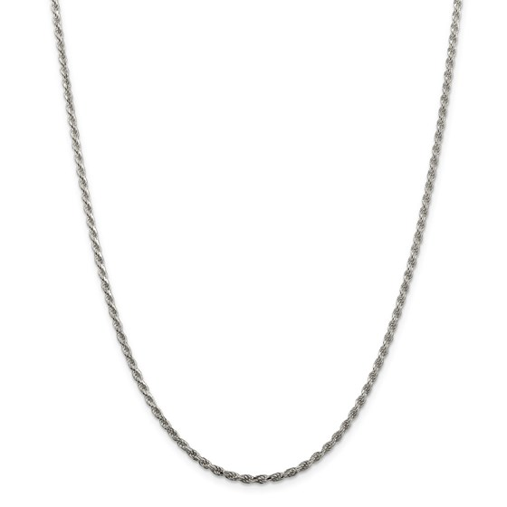 Sterling Silver 2.25 mm Diamond Cut Rope Chain - 24 in.