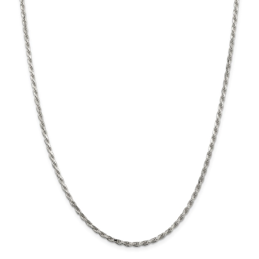 Sterling Silver 2.5 mm Diamond Cut Rope Chain - 24 in.